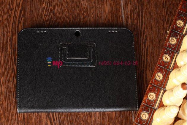 Фирменный оригинальный чехол-обложка для Lenovo IdeaTab A2109 черный кожаный