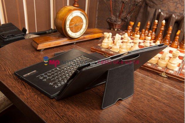 Фирменный оригинальный чехол со съёмной Bluetooth-клавиатурой для Lenovo IdeaTab Lynx K3011 черный кожаный + гарантия
