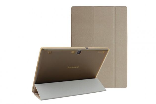 """Фирменный умный чехол-книжка самый тонкий в мире для Lenovo Ideatab A7600/A10-70 """"Il Sottile"""" золотой пластиковый"""