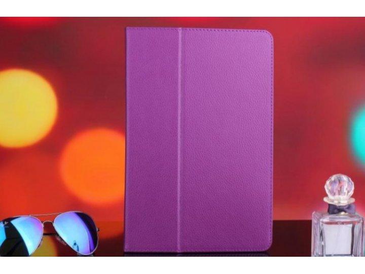 Фирменный чехол-книжка для Lenovo Ideatab A7600/A10-70 фиолетовый кожаный..