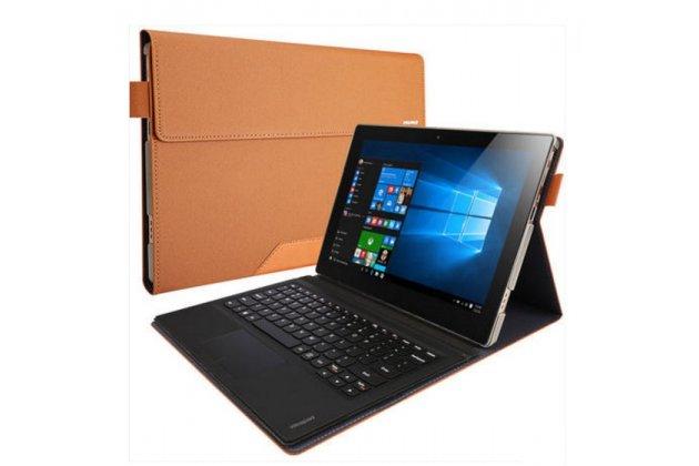 """Фирменный чехол 2-в-1 для планшета и клавиатуры Lenovo Miix 700 m7 / m3 / Miix 4 12"""" золотой кожаный"""