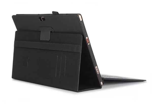 """Фирменный чехол бизнес класса для Lenovo Miix 700 m7 / m3 / Miix 4 12"""" с визитницей и держателем для руки черный натуральная кожа """"Prestige"""" Италия"""
