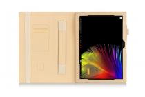 """Фирменный чехол бизнес класса для Lenovo Miix 700 m7 / m3 / Miix 4 12"""" с визитницей и держателем для руки золотой натуральная кожа """"Prestige"""" Италия"""