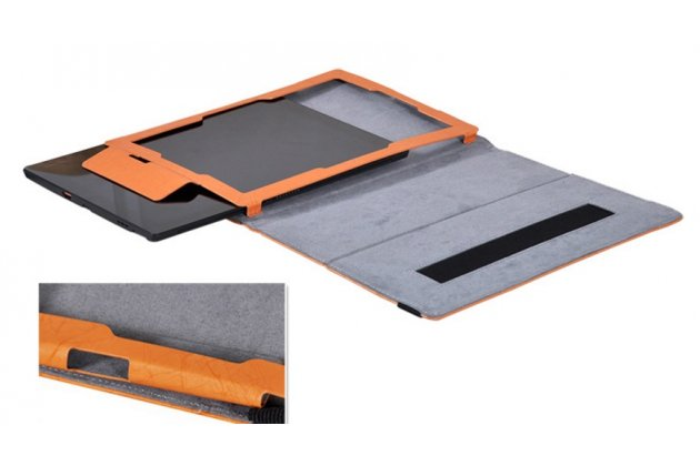 """Фирменный чехол закрытого типа с красивым узором для планшета Lenovo Miix 700 m7 / m3 / Miix 4 12"""" с держателем для руки оранжевый натуральная кожа """"Prestige"""" Италия"""