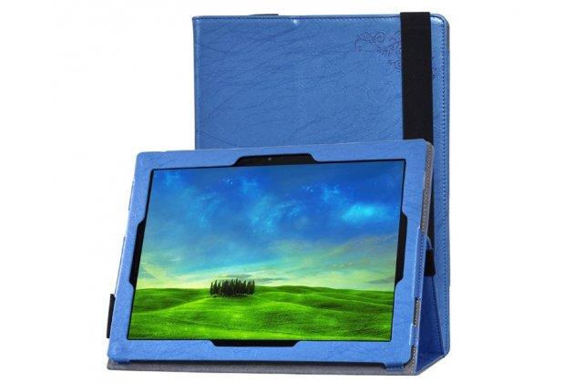 """Фирменный чехол закрытого типа с красивым узором для планшета Lenovo Miix 700 m7 / m3 / Miix 4 12"""" с держателем для руки синий натуральная кожа """"Prestige"""" Италия"""