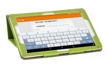 """Фирменный чехол закрытого типа с красивым узором для планшета Lenovo Miix 700 m7 / m3 / Miix 4 12"""" с держателем для руки зеленый натуральная кожа """"Prestige"""" Италия"""