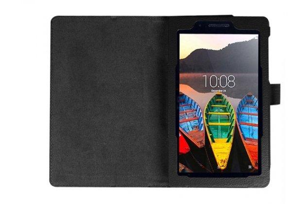 """Фирменный оригинальный чехол обложка с подставкой для Lenovo TAB 3 TB3-730X/M LTE 7.0"""" (ZA130004RU / (ZA130040RU) черный кожаный"""