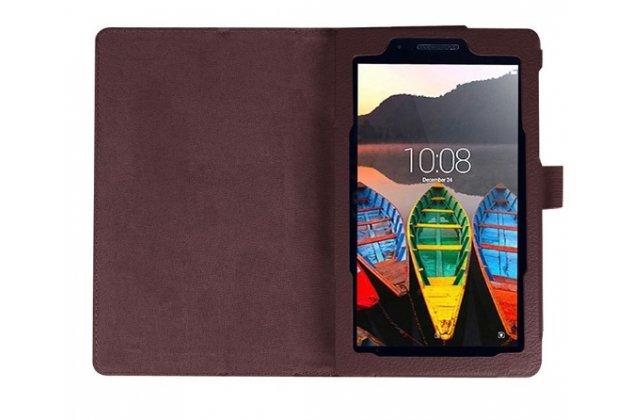 """Фирменный оригинальный чехол обложка с подставкой для Lenovo TAB 3 TB3-730X/M LTE 7.0"""" (ZA130004RU / (ZA130040RU) коричневый кожаный"""