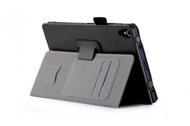 Фирменный чехол бизнес класса для Lenovo TB-8703N / X (ZA230018RU) с визитницей и держателем для руки черный натуральная кожа Prestige Италия