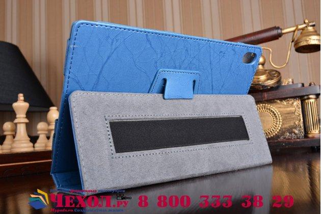 Фирменный чехол закрытого типа с красивым узором для планшета Lenovo TB-8703N / X (ZA230018RU) с держателем для руки синий натуральная кожа  Италия