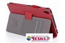 Фирменный чехол бизнес класса для Lenovo TB-8703N / X (ZA230018RU) с визитницей и держателем для руки красный натуральная кожа Prestige Италия
