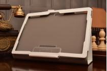 """Фирменный чехол бизнес класса для Lenovo Tab 2 A10-70L / A10-70F (MediaTek MT8732/10.1"""" IPS 1920*1200) с визитницей и держателем для руки белый натуральная кожа """"Prestige"""" Италия"""