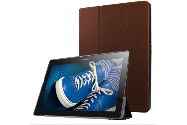 """Фирменный умный тонкий чехол для Lenovo Tab 2 A10-30 / A10-30L / ZA0D0048RU / ZA0D0053RU /TAB 2 X30 16GB LTE / TB2-X30L  """"Il Sottile"""" коричневый пластиковый"""