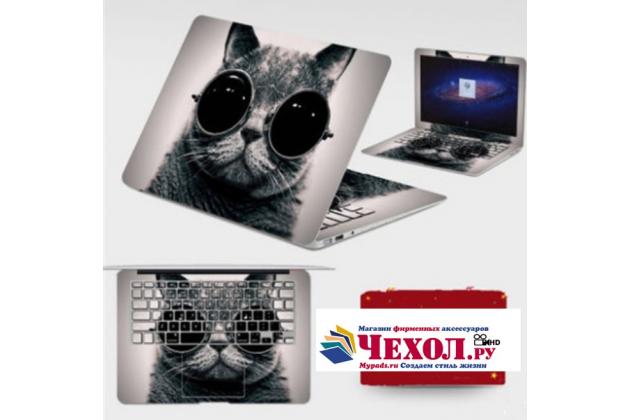 Фирменная оригинальная защитная пленка-наклейка с 3d рисунком на твёрдой основе, которая не увеличивает планшет в размерах для Lenovo MIIX 310-10ICR (80SG00A9RK) тематика Кот в очках