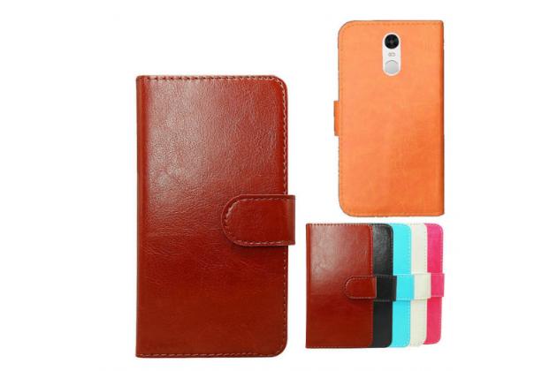 """Фирменный чехол-книжка для  Lenovo К6 Note 5.5"""" с визитницей и мультиподставкой коричневый кожаный"""