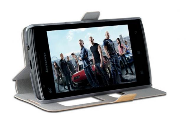 """Фирменный чехол-книжка для Lenovo A1000/ A2800 /A2800D 4.0"""" белый с окошком для входящих вызовов и свайпом водоотталкивающий"""