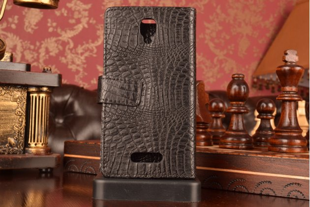 """Фирменный чехол-книжка с подставкой для Lenovo A1000/ A2800 /A2800D 4.0"""" лаковая кожа крокодила черный"""