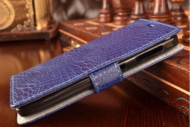 """Фирменный чехол-книжка с подставкой для Lenovo A1000/ A2800 /A2800D 4.0"""" лаковая кожа крокодила фиолетовый"""