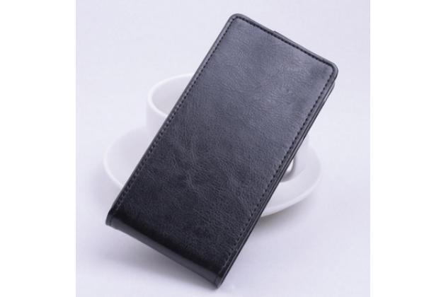 """Фирменный оригинальный вертикальный откидной чехол-флип для  Lenovo A1000/ A2800 /A2800D 4.0"""" черный кожаный"""