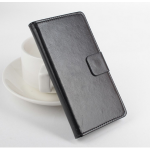 Фирменный чехол-книжка из качественной импортной кожи с мульти-подставкой застёжкой и визитницей для Леново А1900 черный