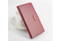 Фирменный чехол-книжка из качественной импортной кожи с мульти-подставкой застёжкой и визитницей для Леново А1900 коричневый