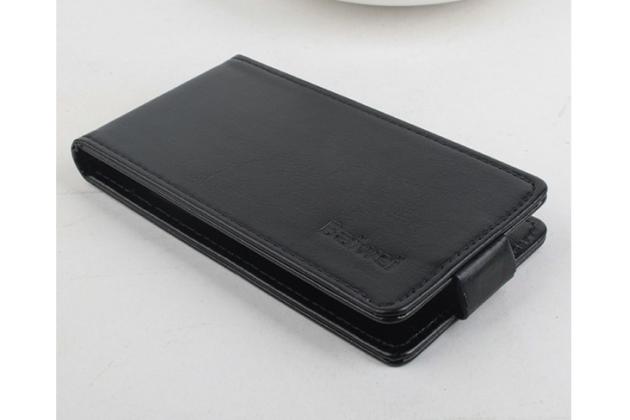 """Фирменный оригинальный вертикальный откидной чехол-флип для Lenovo A1900 черный из натуральной кожи """"Prestige"""" Италия"""
