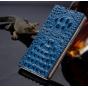 Фирменный роскошный эксклюзивный чехол с объёмным 3D изображением рельефа кожи крокодила синий для Lenovo A190..