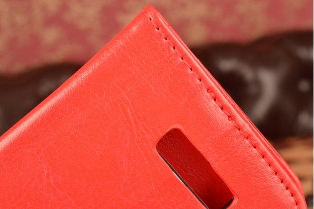 Фирменный чехол-книжка из качественной импортной кожи с мульти-подставкой застёжкой и визитницей для Lenovo A2010 красный