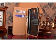 Фирменный чехол-книжка из качественной импортной кожи с мульти-подставкой застёжкой и визитницей для Леново А2..