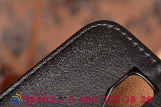 Фирменный чехол-книжка из качественной импортной кожи с мульти-подставкой застёжкой и визитницей для Леново А2010 черный