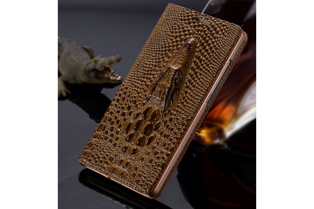 Фирменный роскошный эксклюзивный чехол с объёмным 3D изображением кожи крокодила коричневый для Lenovo A2010 . Только в нашем магазине. Количество ограничено