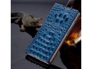 Фирменный роскошный эксклюзивный чехол с объёмным 3D изображением рельефа кожи крокодила синий для Lenovo A201..