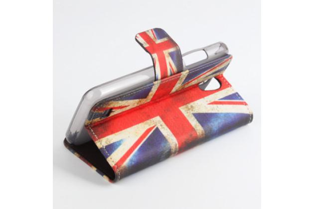 """Фирменный уникальный необычный чехол-книжка для Lenovo A3600 /A3600D / A3800 / A3800D 4.5"""" """"тематика британский флаг"""""""