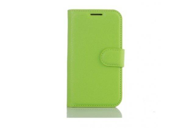 """Фирменный чехол-книжка из качественной импортной кожи с подставкой застёжкой и визитницей для Lenovo A3690 / A3860 / A3580 / A3890 5.0""""  зеленый"""