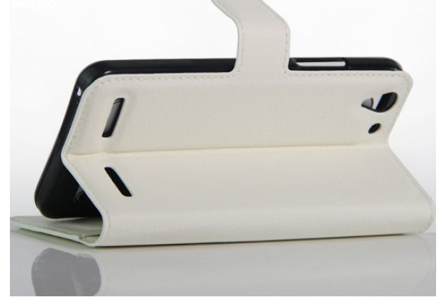 """Фирменный чехол-книжка из качественной импортной кожи с подставкой застёжкой и визитницей для Lenovo A3690 / A3860 / A3580 / A3890 5.0"""" белый"""