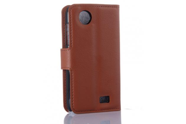 Фирменный чехол-книжка из качественной импортной кожи с мульти-подставкой застёжкой и визитницей для Lenovo A369i коричневый