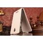 Фирменный оригинальный вертикальный откидной чехол-флип для Lenovo A5000 белый кожаный..