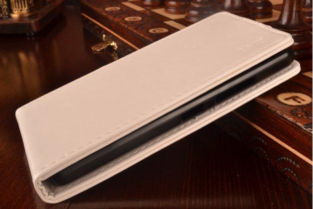 Фирменный оригинальный вертикальный откидной чехол-флип для Lenovo A5000 белый кожаный