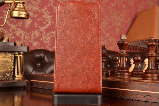 Фирменный оригинальный вертикальный откидной чехол-флип для Lenovo A5000 коричневый кожаный