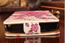 """Фирменный вертикальный откидной чехол-флип для  Lenovo A5000 5.0""""  """"тематика Цветок сакуры"""""""