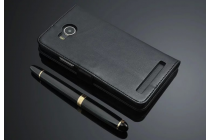 """Фирменный чехол-книжка для Lenovo A5600 / A5860 / A5890 ( 5.5""""/ Android 5.1 / MediaTek MT6735) с визитницей и мультиподставкой черный кожаный"""