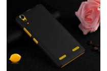 Фирменная задняя панель-крышка-накладка из тончайшего и прочного пластика для Lenovo A6000/ A6010 Plus черная