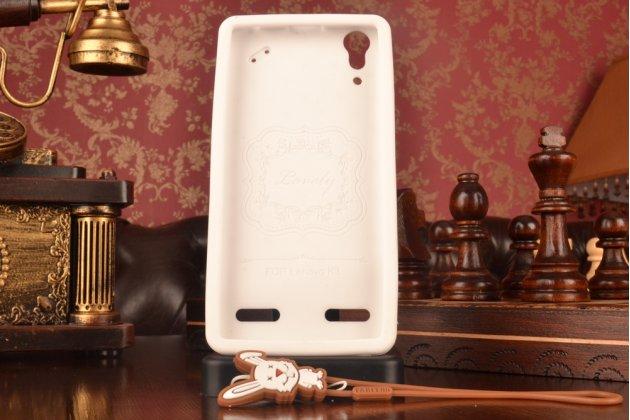 """Фирменная необычная уникальная полимерная мягкая задняя панель-чехол-накладка для Lenovo A6000/ A6010 Plus """"тематика Андроид в Белом Шоколаде"""""""
