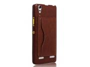 Фирменная роскошная элитная премиальная задняя панель-крышка для Lenovo A6000/ A6010 Plus из качественной кожи..