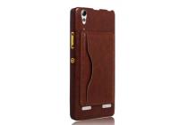 Фирменная роскошная элитная премиальная задняя панель-крышка для Lenovo A6000/ A6010 Plus из качественной кожи буйвола с визитницей коричневый