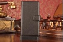 """Фирменный чехол-книжка из качественной импортной кожи с мульти-подставкой застёжкой и визитницей для Леново А6000/ А6010 Плюс 5,0""""  черный"""