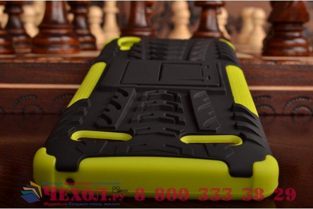 """Противоударный усиленный ударопрочный фирменный чехол-бампер-пенал для Lenovo A6000/ A6010 Plus 5.0"""" зеленый"""