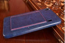 """Фирменная роскошная элитная премиальная задняя панель-крышка для Lenovo K3 Note / A7000 5.5"""" из качественной кожи буйвола с визитницей синяя"""