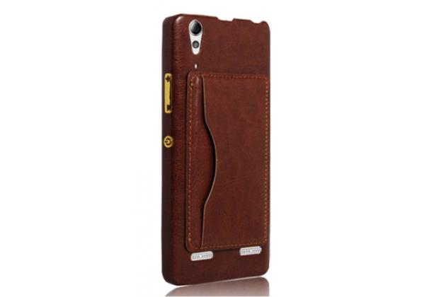 Фирменная роскошная элитная премиальная задняя панель-крышка для Lenovo K3 Note/A7000 из качественной кожи буйвола с визитницей коричневый