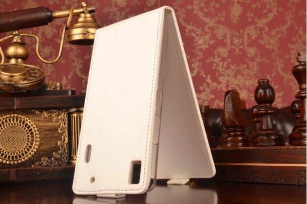 """Фирменный оригинальный вертикальный откидной чехол-флип для Lenovo K3 Note / A7000 5.5"""" LTE белый из натуральной кожи """"Prestige"""" Италия"""